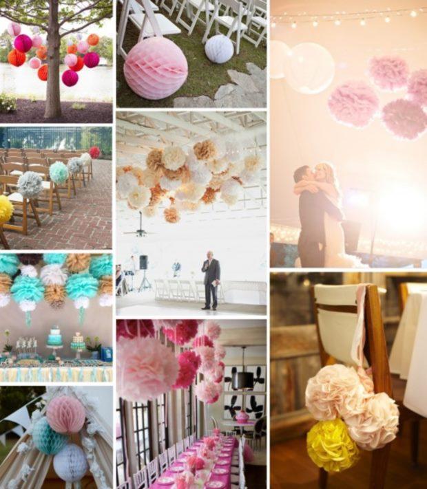 pompony dekoracje wesele
