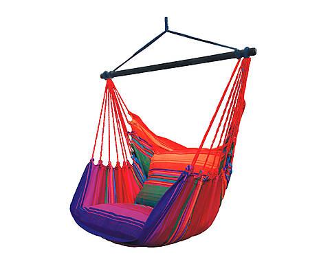 fotel hamakowy czerwono-niebieski